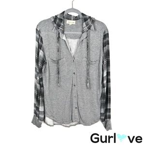 Cloth & Stone Gray Plaid Hooded Button Flannel M